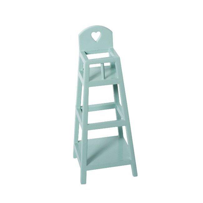 Maileg mini chaise haute en bois bleu for Petite chaise en bois pour bebe